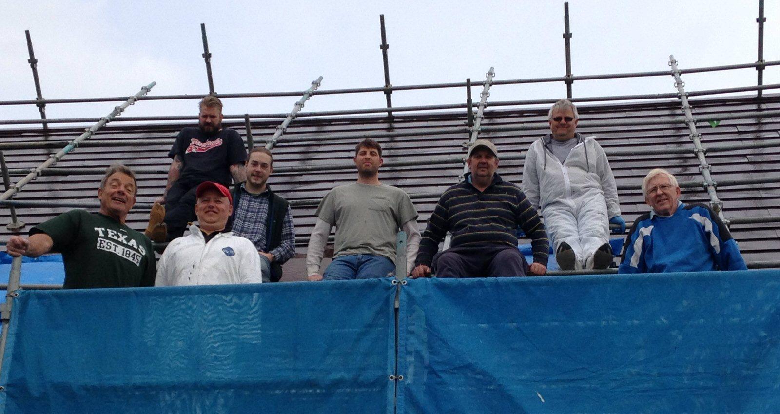2016-04 Nozomi Work Team 1 CROPPED L to R Brian, James Benefiel, Gelu, Noah, Patrick, Liviu, Petre, Cal Cummings photo from Patrick Lewis